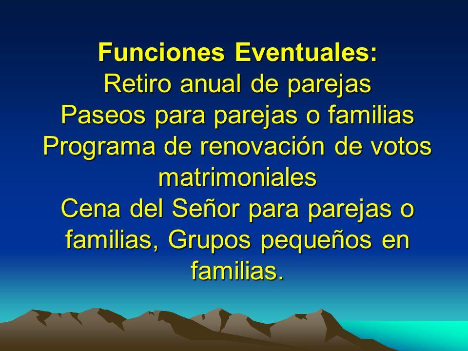Funciones Eventuales: Retiro anual de parejas Paseos para parejas o familias Programa de renovación de votos matrimoniales Cena del Señor para parejas