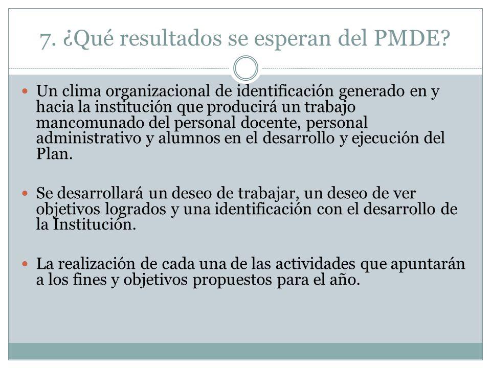 7. ¿Qué resultados se esperan del PMDE? Un clima organizacional de identificación generado en y hacia la institución que producirá un trabajo mancomun