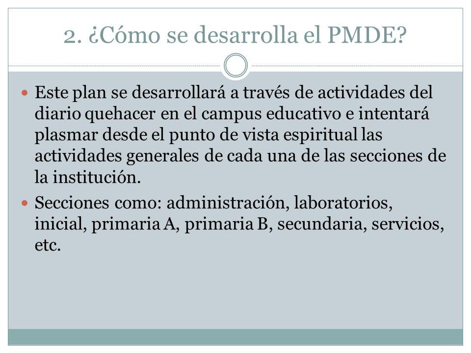 2. ¿Cómo se desarrolla el PMDE? Este plan se desarrollará a través de actividades del diario quehacer en el campus educativo e intentará plasmar desde