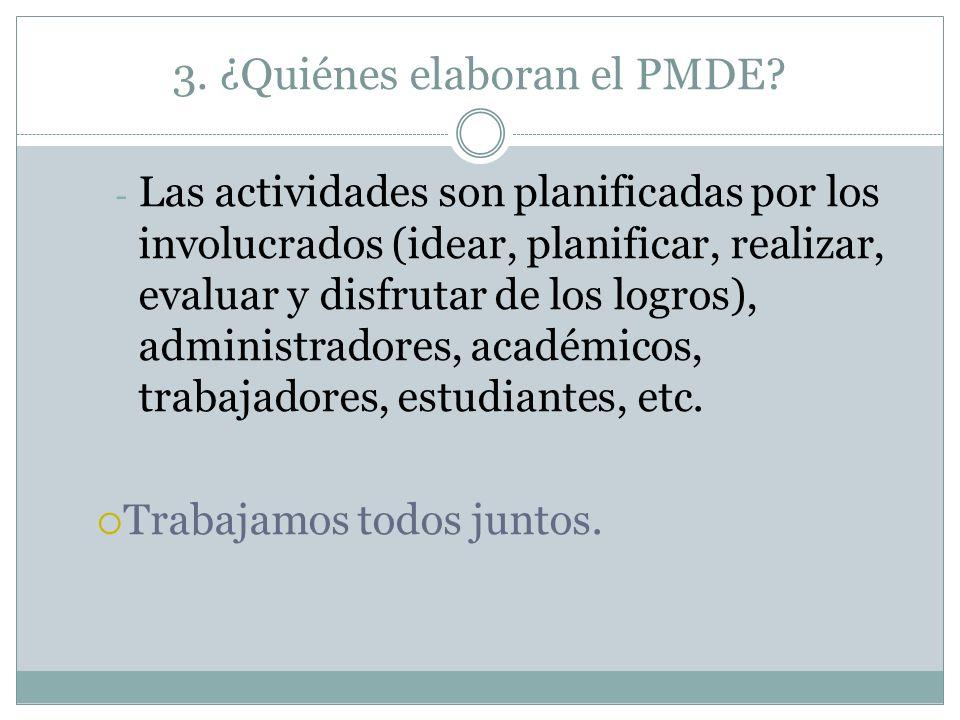 3. ¿Quiénes elaboran el PMDE? - Las actividades son planificadas por los involucrados (idear, planificar, realizar, evaluar y disfrutar de los logros)