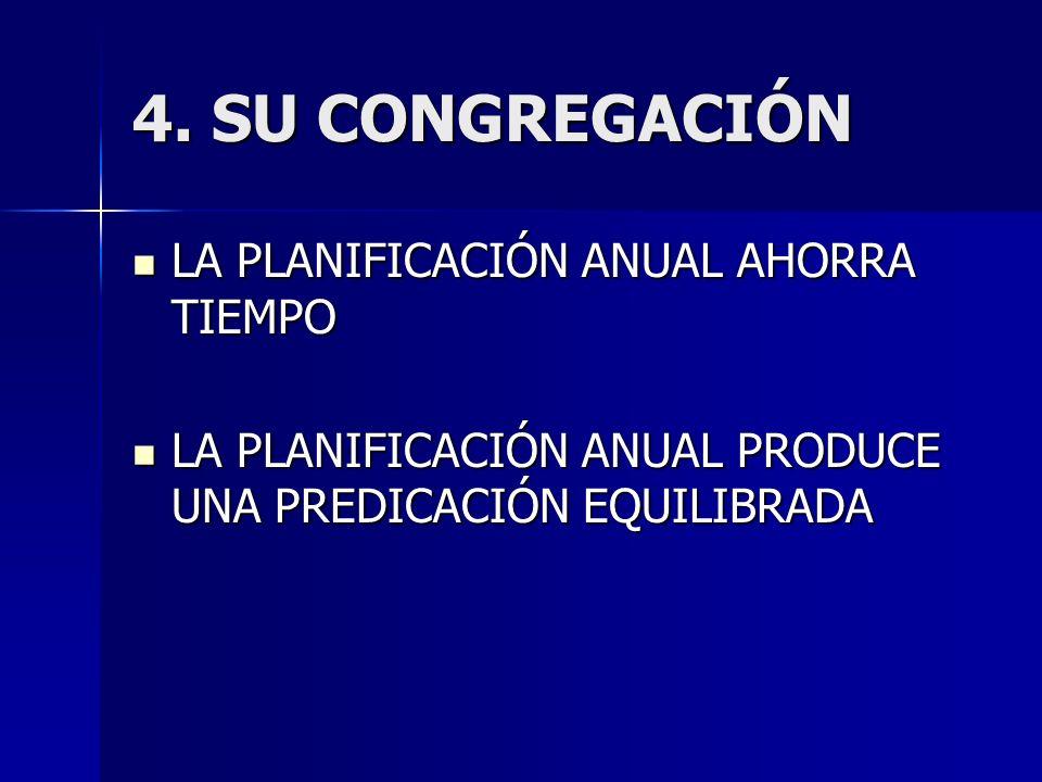 4. SU CONGREGACIÓN LA PLANIFICACIÓN ANUAL AHORRA TIEMPO LA PLANIFICACIÓN ANUAL AHORRA TIEMPO LA PLANIFICACIÓN ANUAL PRODUCE UNA PREDICACIÓN EQUILIBRAD