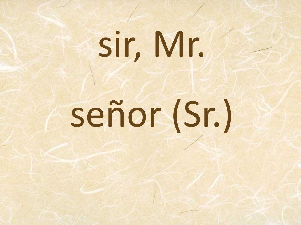 señor (Sr.) sir, Mr.