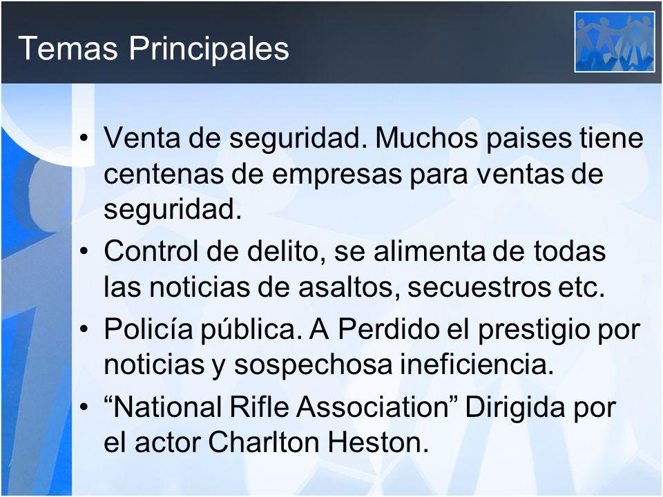 Temas Principales Venta de seguridad.