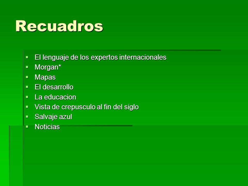 Recuadros El lenguaje de los expertos internacionales El lenguaje de los expertos internacionales Morgan* Morgan* Mapas Mapas El desarrollo El desarro
