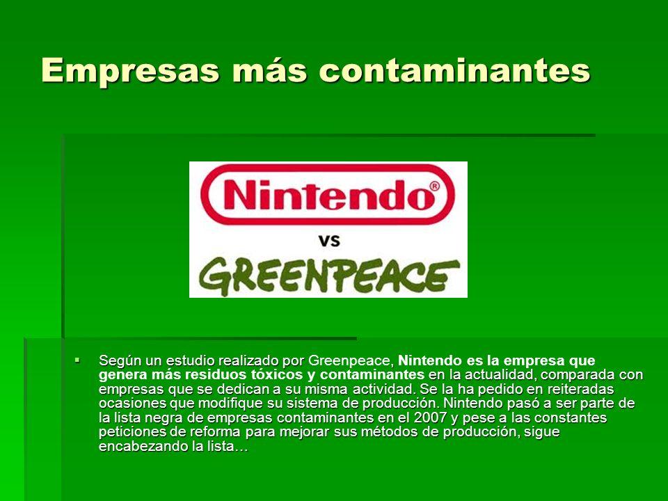 Empresas más contaminantes Según un estudio realizado por, en la actualidad, comparada con empresas que se dedican a su misma actividad.