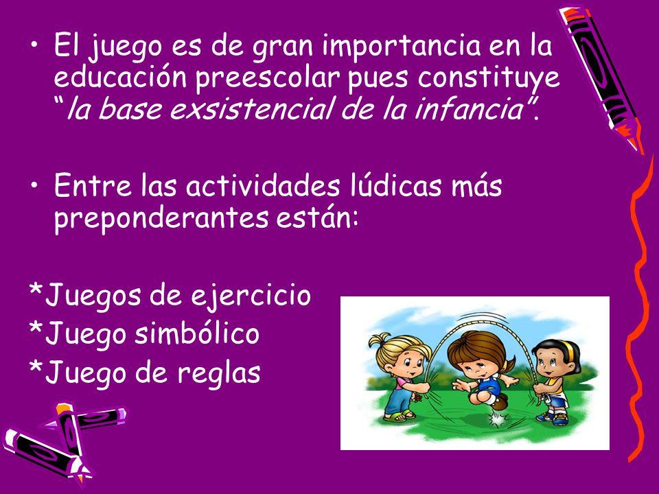 El juego es de gran importancia en la educación preescolar pues constituyela base exsistencial de la infancia. Entre las actividades lúdicas más prepo