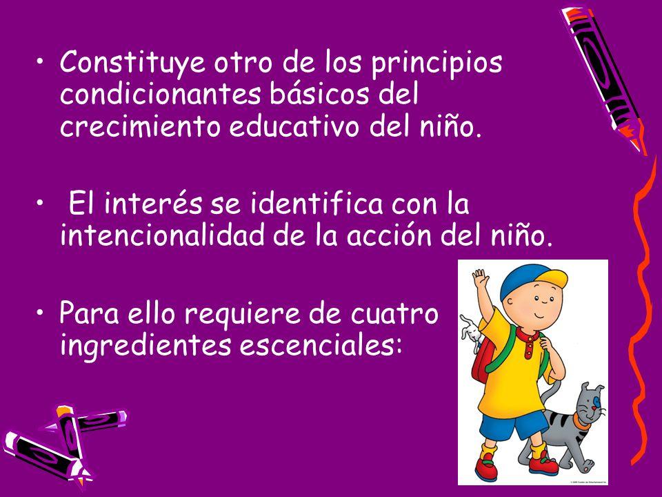 Constituye otro de los principios condicionantes básicos del crecimiento educativo del niño. El interés se identifica con la intencionalidad de la acc