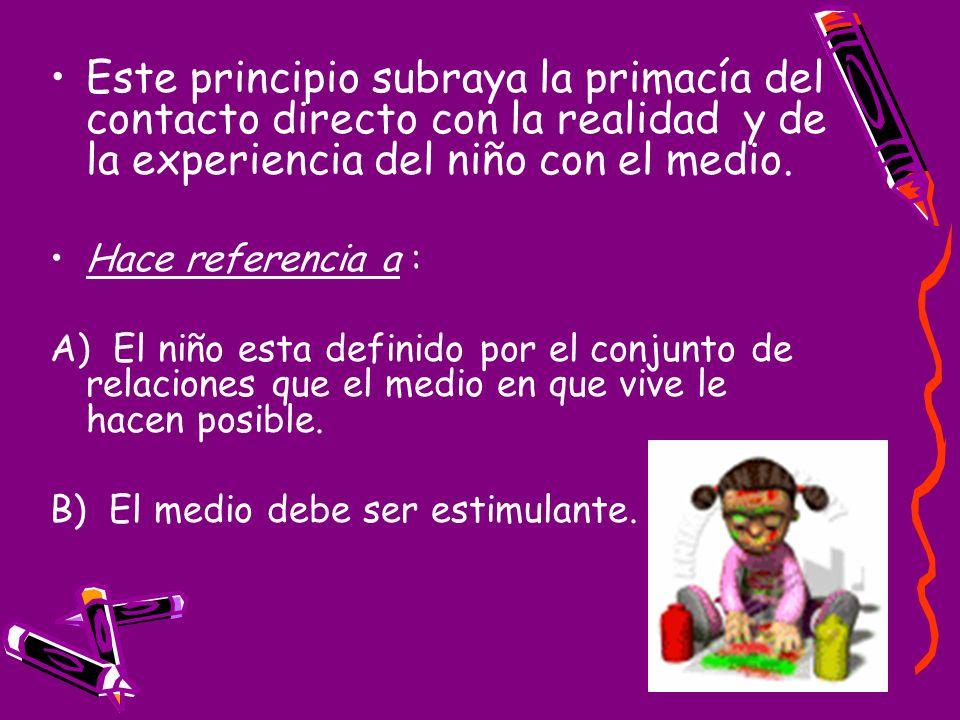 Este principio subraya la primacía del contacto directo con la realidad y de la experiencia del niño con el medio. Hace referencia a : A) El niño esta