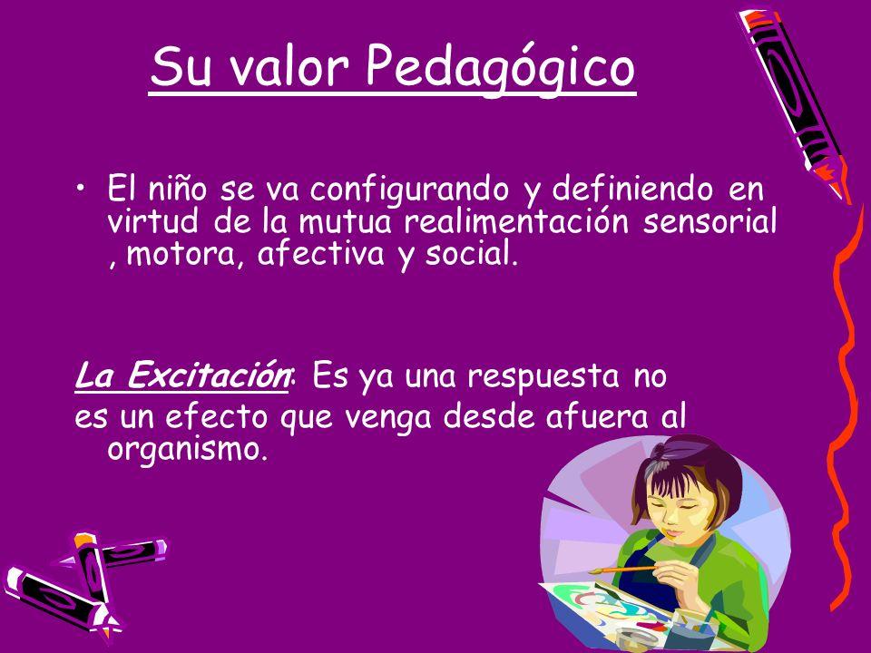 Su valor Pedagógico El niño se va configurando y definiendo en virtud de la mutua realimentación sensorial, motora, afectiva y social. La Excitación: