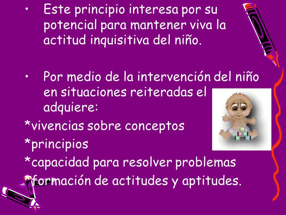 Este principio interesa por su potencial para mantener viva la actitud inquisitiva del niño. Por medio de la intervención del niño en situaciones reit