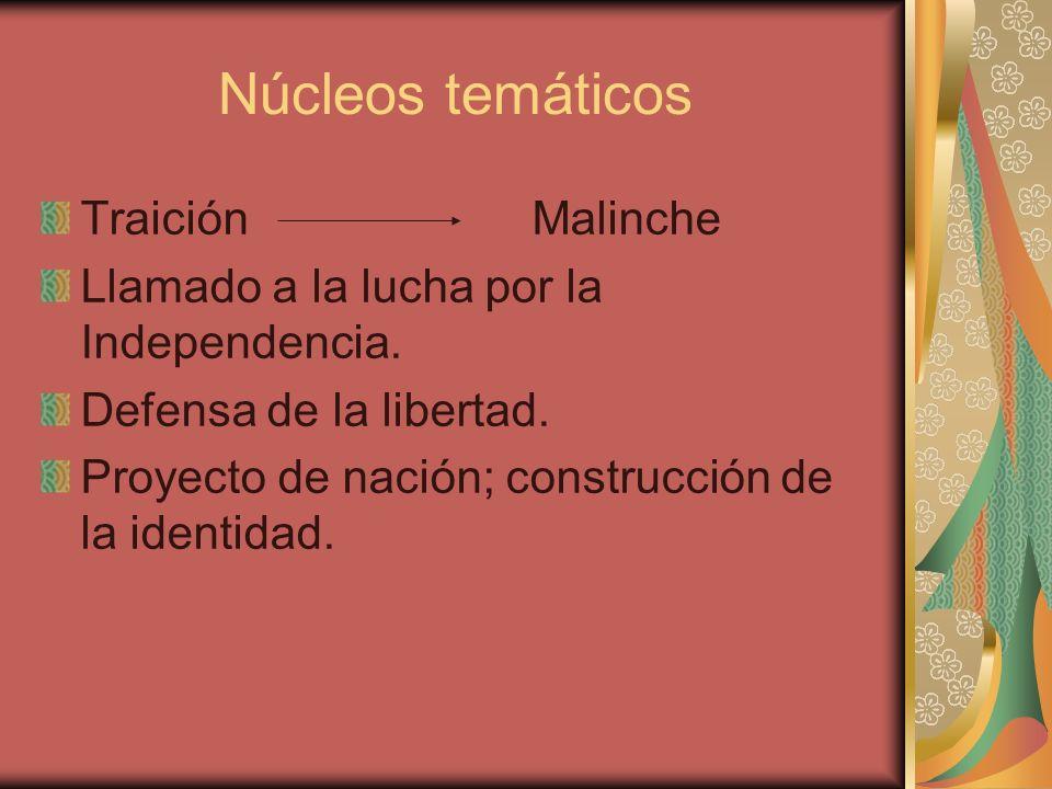 Núcleos temáticos Traición Malinche Llamado a la lucha por la Independencia. Defensa de la libertad. Proyecto de nación; construcción de la identidad.