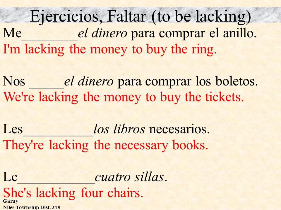 Garay Niles Township Dist. 219 Ejercicios, Faltar (to be lacking) Me________el dinero para comprar el anillo. I'm lacking the money to buy the ring. N