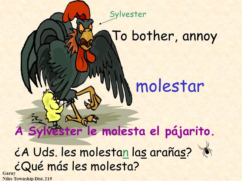 Garay Niles Township Dist. 219 To bother, annoy molestar Sylvester A Sylvester le molesta el pájarito. ¿A Uds. les molestan las arañas? ¿Qué más les m