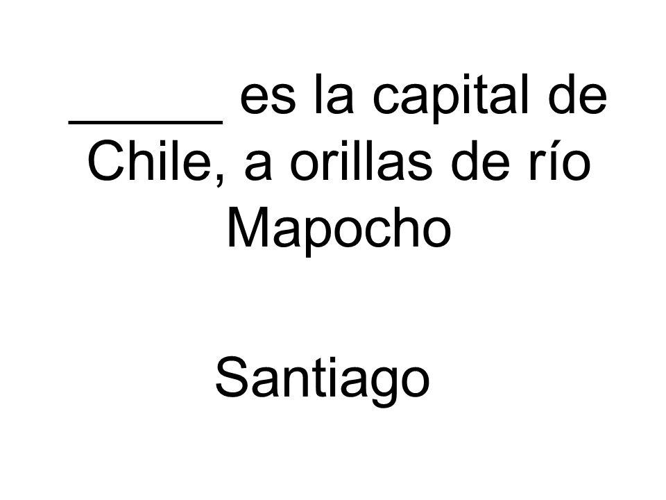 _____ es la capital de Chile, a orillas de río Mapocho Santiago