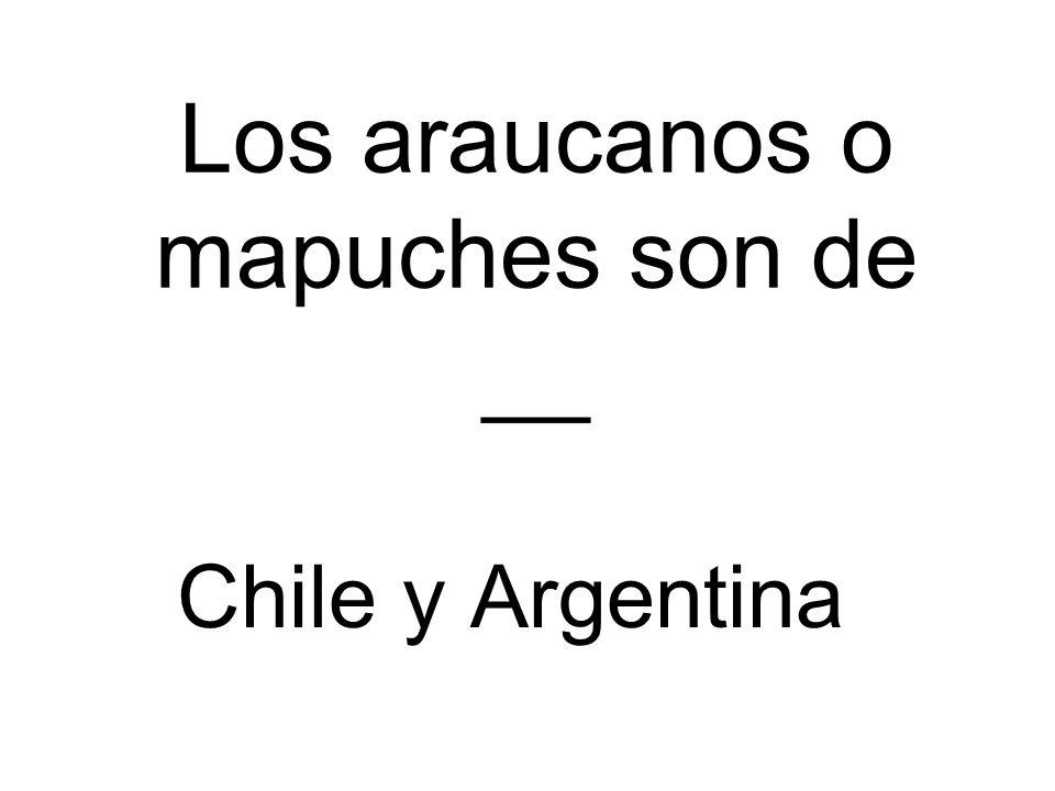 Los araucanos o mapuches son de __ Chile y Argentina