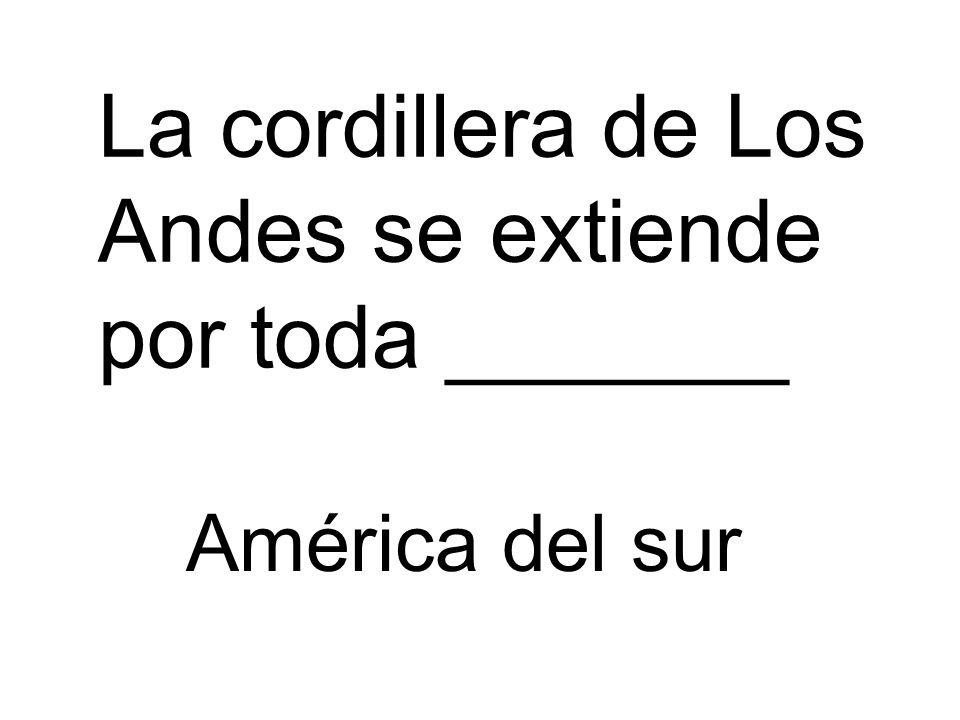 La cordillera de Los Andes se extiende por toda _______ América del sur