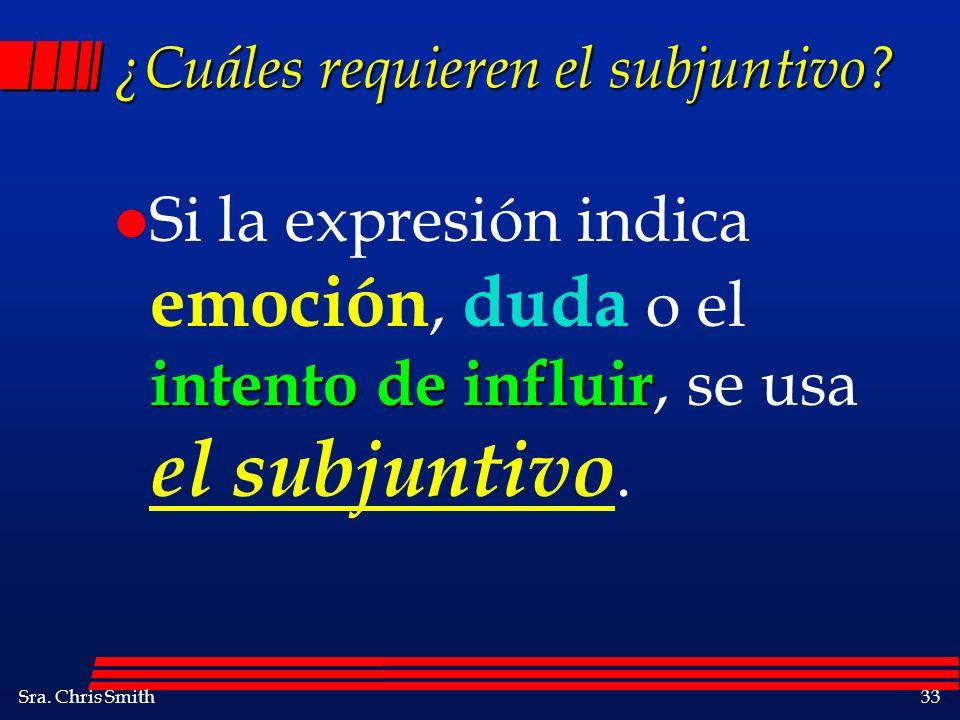 Sra. Chris Smith33 ¿Cuáles requieren el subjuntivo? intento de influir l Si la expresión indica emoción, duda o el intento de influir, se usa el subju