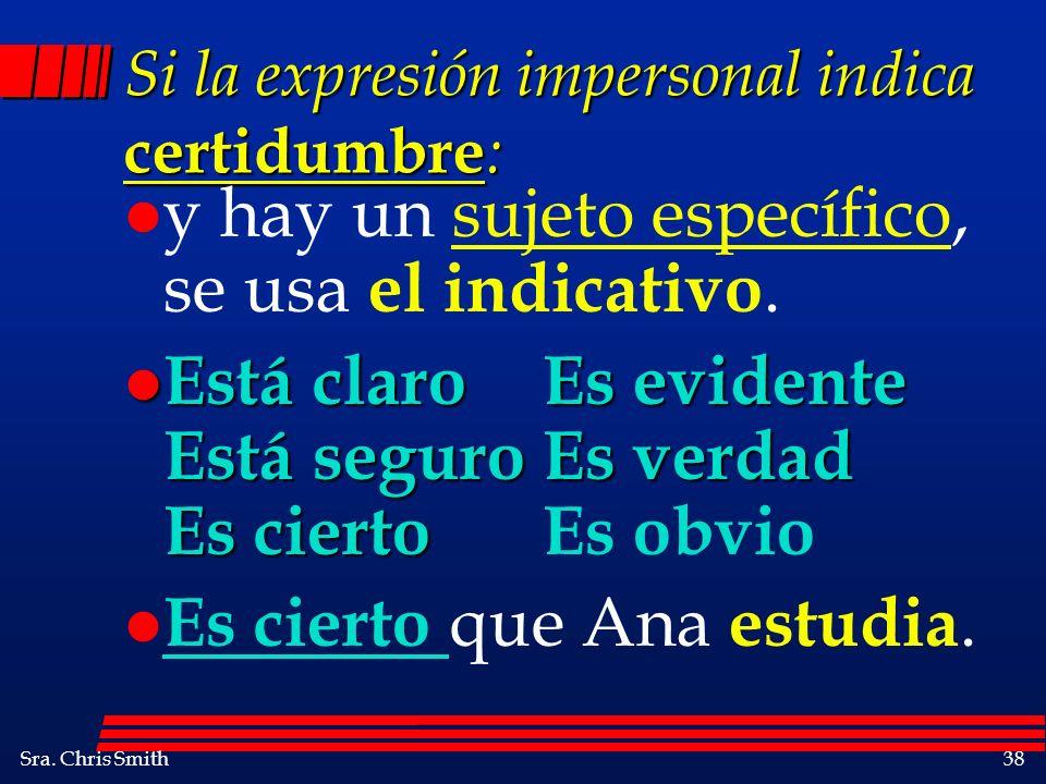 Sra. Chris Smith38 Si la expresión impersonal indica certidumbre : l y hay un sujeto específico, se usa el indicativo. l Está claroEs evidente Está se