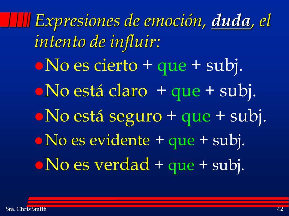 Sra. Chris Smith42 Expresiones de emoción, duda, el intento de influir: l No es cierto + que + subj. l No está claro + que + subj. l No está seguro +