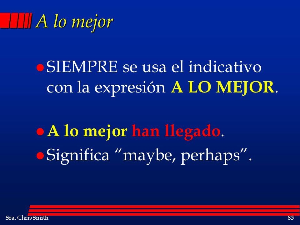 Sra.Chris Smith83 A lo mejor l SIEMPRE se usa el indicativo con la expresión A LO MEJOR.