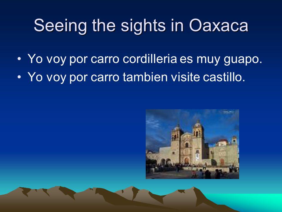 Seeing the sights in Oaxaca Yo voy por carro cordilleria es muy guapo.