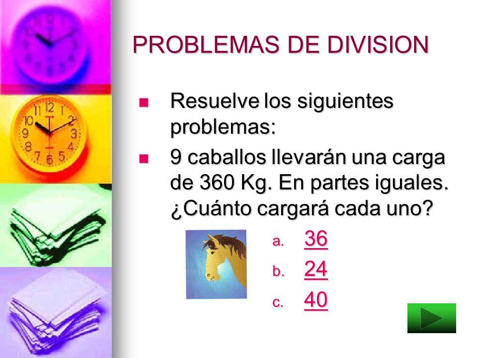 DIVISION La división es exacta si tiene residuo cero. La división es exacta si tiene residuo cero. La división es inexacta si tiene residuo diferente