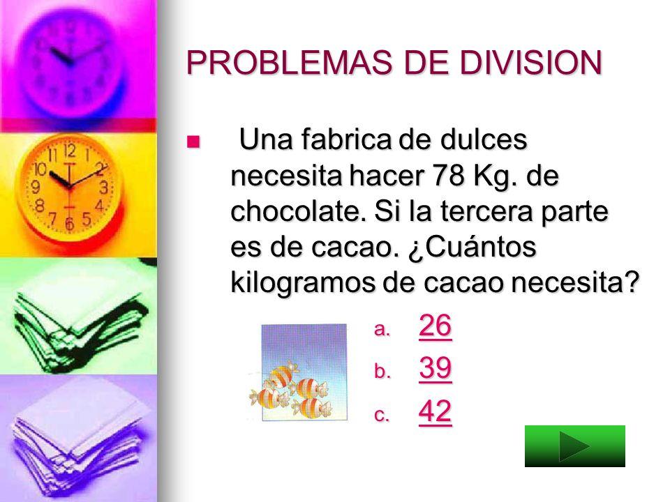 PROBLEMAS DE DIVISION Resuelve los siguientes problemas: Resuelve los siguientes problemas: 9 caballos llevarán una carga de 360 Kg. En partes iguales