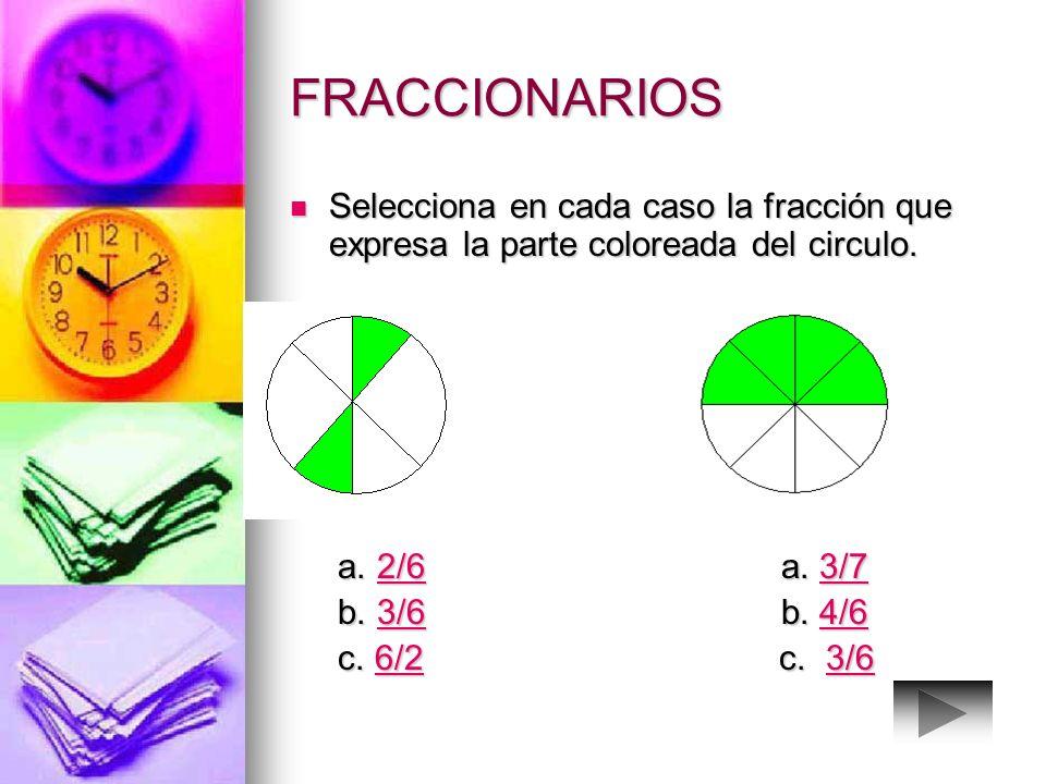 FRACCIONARIOS Los términos de una fracción se llaman numerador y denominador Los términos de una fracción se llaman numerador y denominador fracción 3