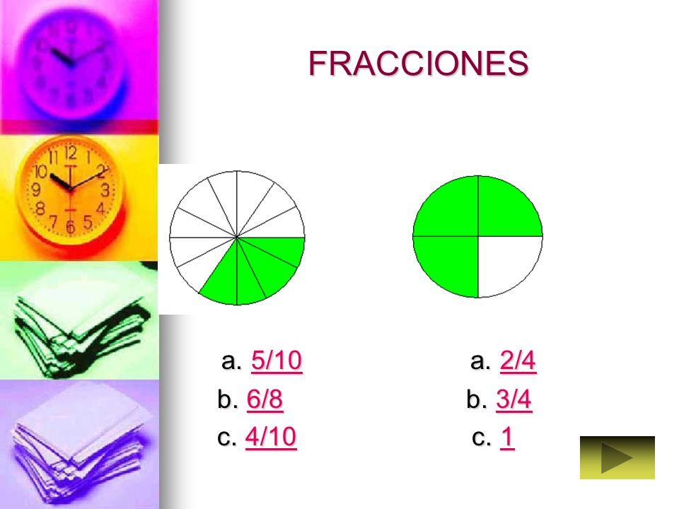 FRACCIONARIOS Selecciona en cada caso la fracción que expresa la parte coloreada del circulo. Selecciona en cada caso la fracción que expresa la parte