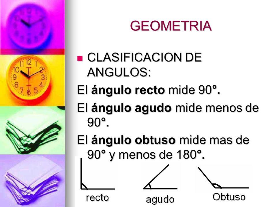 Geometría Ángulos: Ángulos: Las partes de un ángulo son lados y Las partes de un ángulo son lados y vértices. Los lados son las líneas que forman el á
