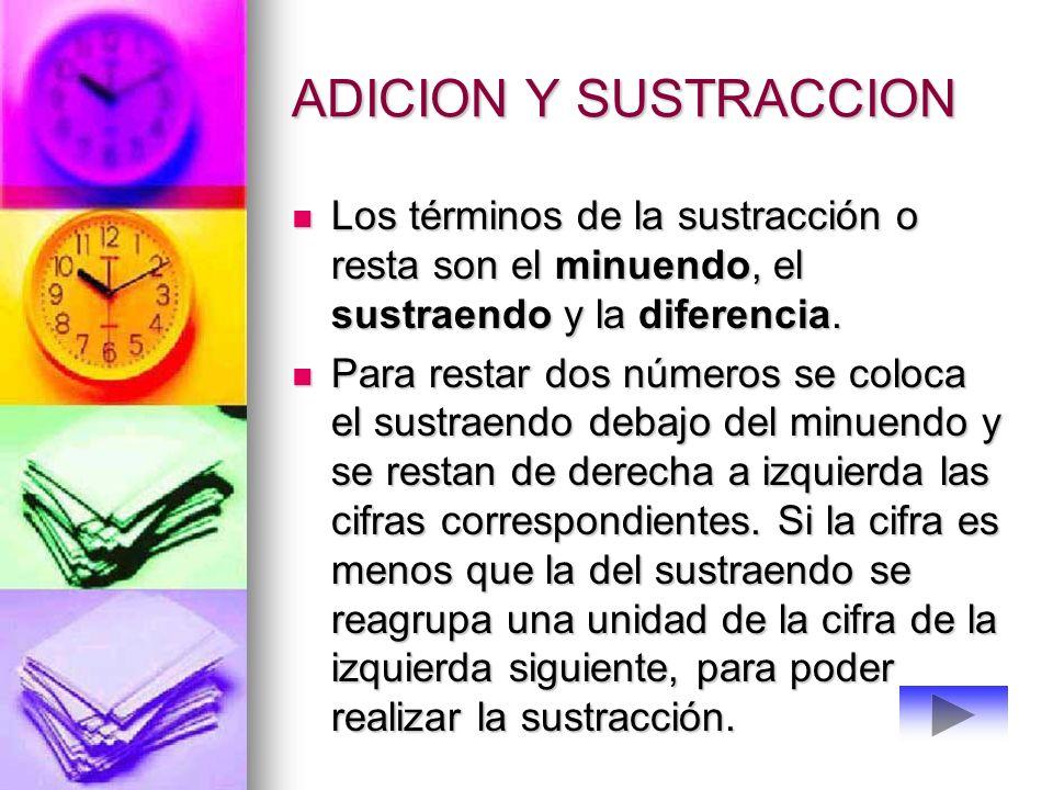ADICION Y SUSTRACCION Los términos de la adición son los sumandos y la suma o total Los términos de la adición son los sumandos y la suma o total Para