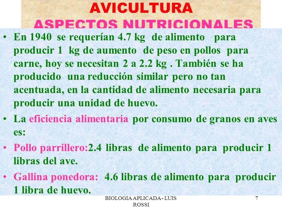 BIOLOGIA APLICADA - LUIS ROSSI 8 AVICULTURA ASPECTOS NUTRICIONALES La eficiencia alimentaria se mide a 2 niveles: energética (calorías) y protéica.