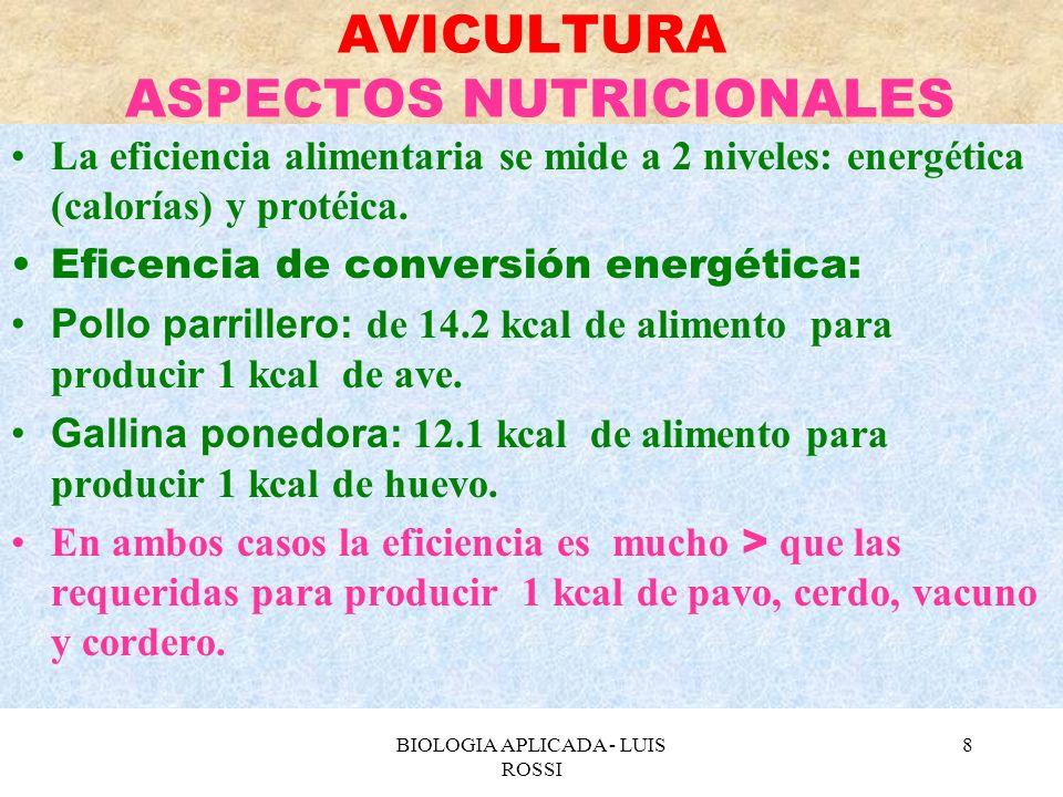 BIOLOGIA APLICADA - LUIS ROSSI 9 AVICULTURA ASPECTOS NUTRICIONALES Eficiencia de conversión protéica: Pollo parrillero: 1.9 libras de alimento para producir 1 libras de ave.