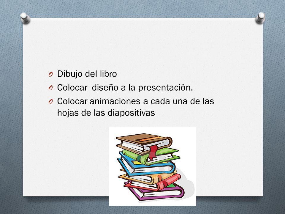 O Dibujo del libro O Colocar diseño a la presentación. O Colocar animaciones a cada una de las hojas de las diapositivas