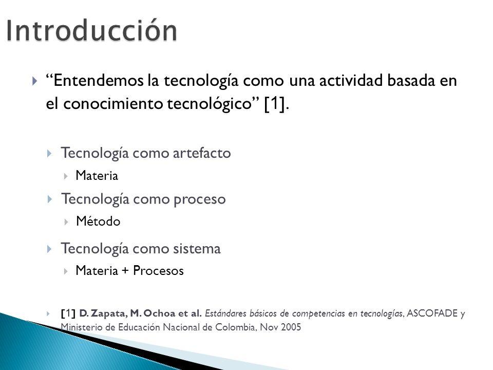 Introducción Entendemos la tecnología como una actividad basada en el conocimiento tecnológico [ 1 ].