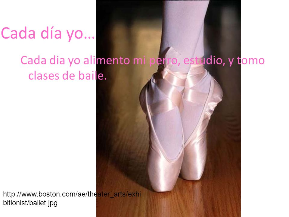 Cada día yo… Cada dia yo alimento mi perro, estudio, y tomo clases de baile. http://www.boston.com/ae/theater_arts/exhi bitionist/ballet.jpg