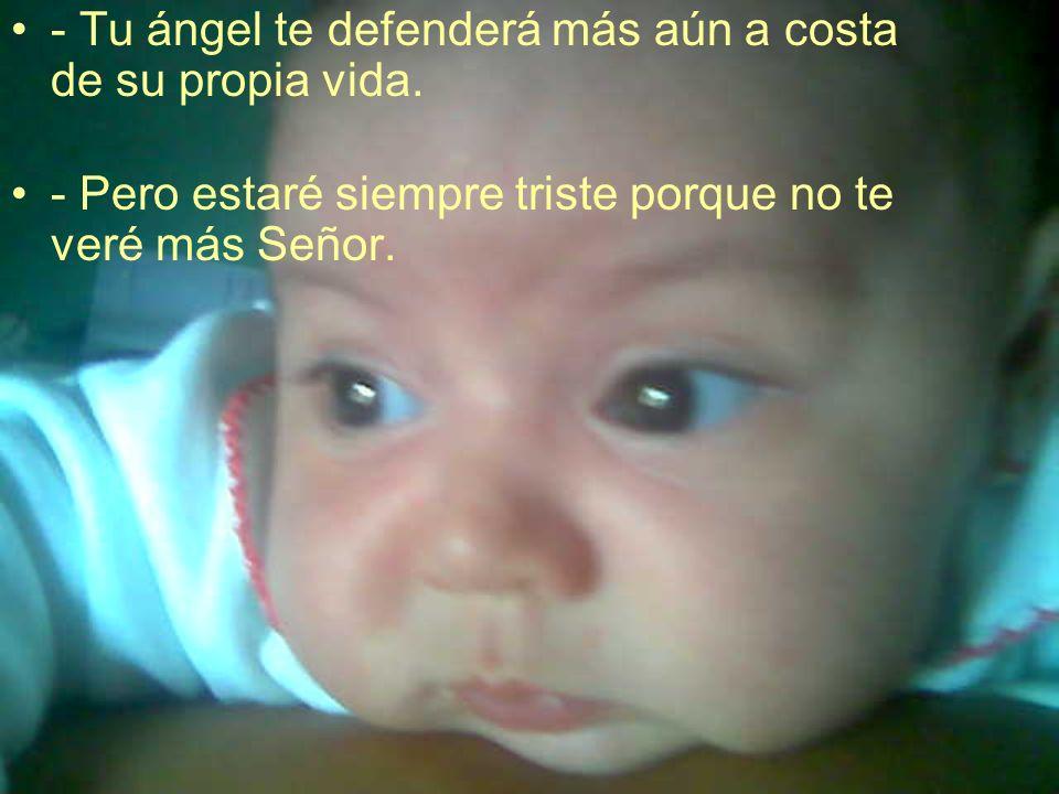 - Tu ángel te defenderá más aún a costa de su propia vida. - Pero estaré siempre triste porque no te veré más Señor.