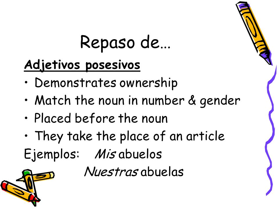 Repaso de… Adjetivos posesivos Demonstrates ownership Match the noun in number & gender Placed before the noun They take the place of an article Ejemp