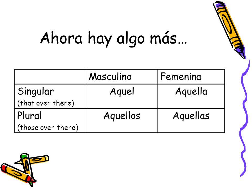 Ahora hay algo más… MasculinoFemenina Singular (that over there) AquelAquella Plural (those over there) AquellosAquellas