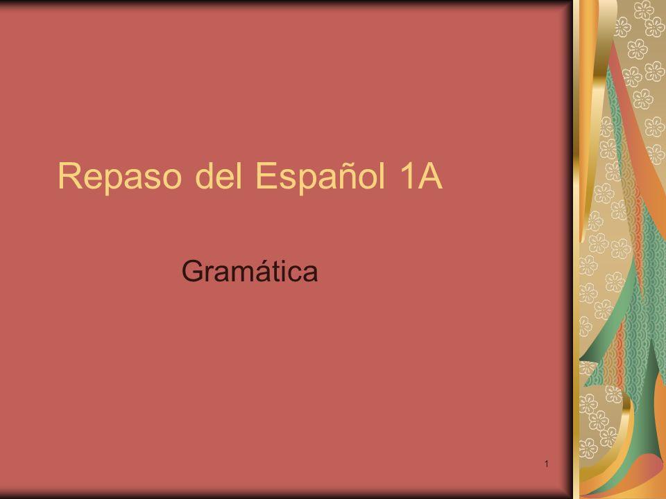 1 Repaso del Español 1A Gramática