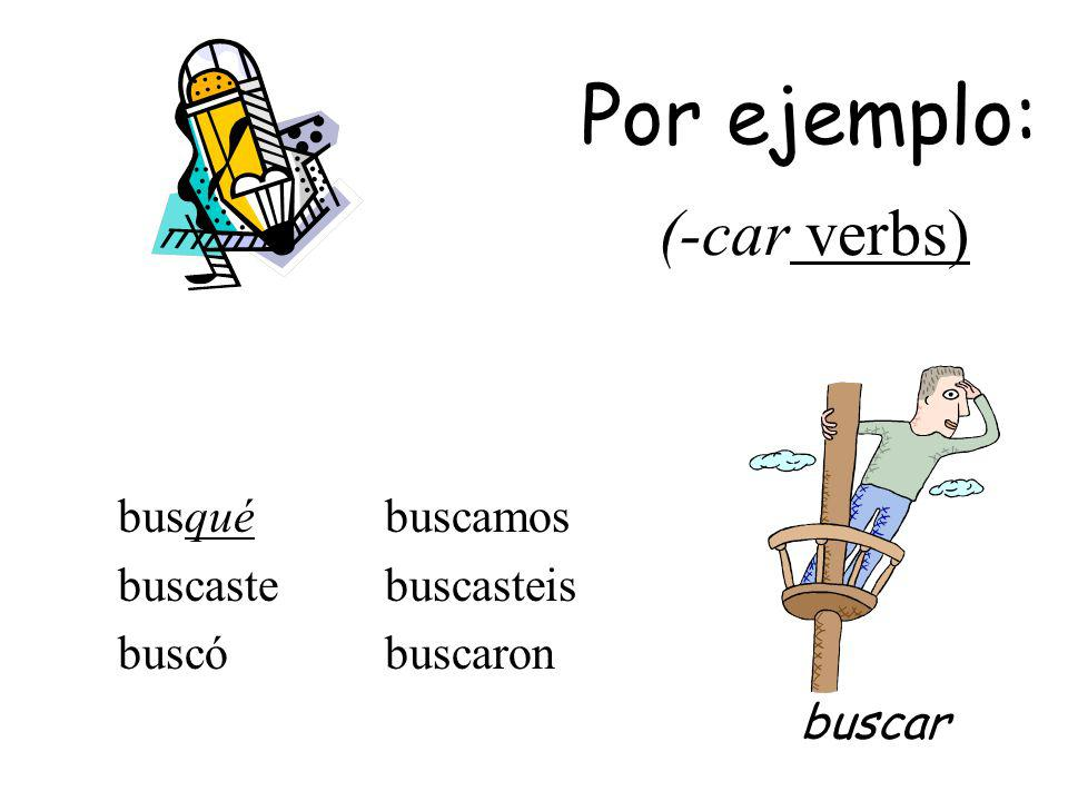 The yo form of the pretérito changes to conserve the sound of the infinitive: -car -gar -zar -qué -gué -cé tocé jugé rezé