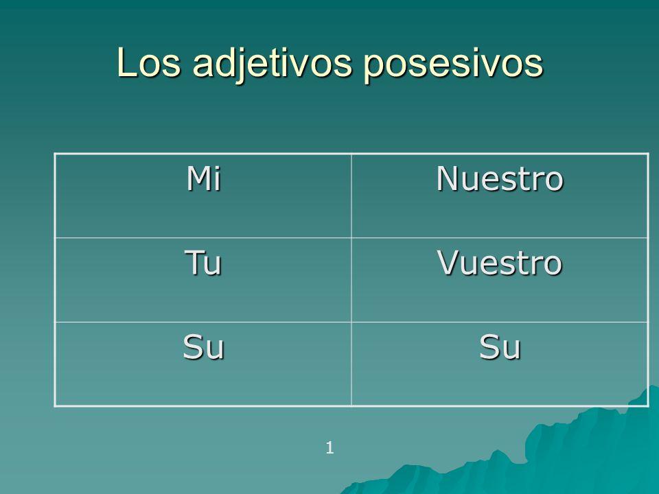 Los adjetivos posesivos MiNuestro TuVuestro SuSu 1