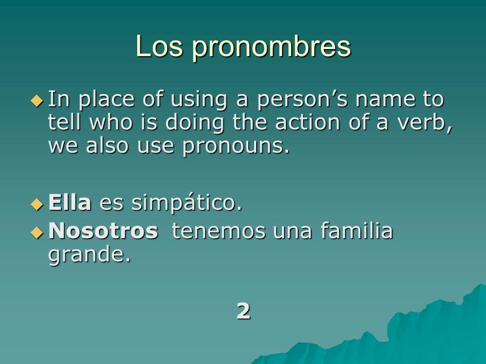 Los pronombres personales YoNosotros TúVosotros ÉlEllaUstedEllosEllasUstedes