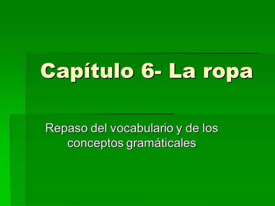 Capítulo 6- La ropa Repaso del vocabulario y de los conceptos gramáticales