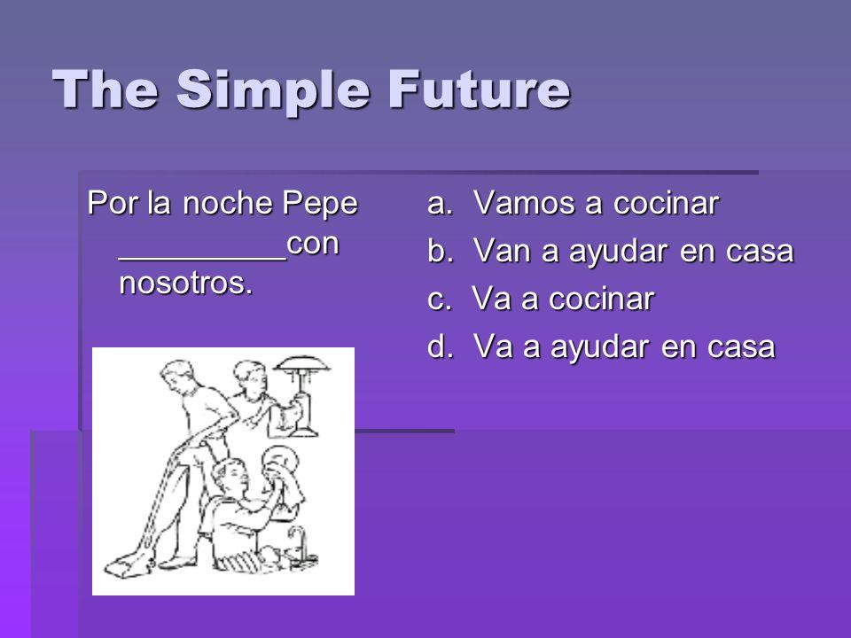 The Simple Future Por la noche Pepe _________con nosotros.