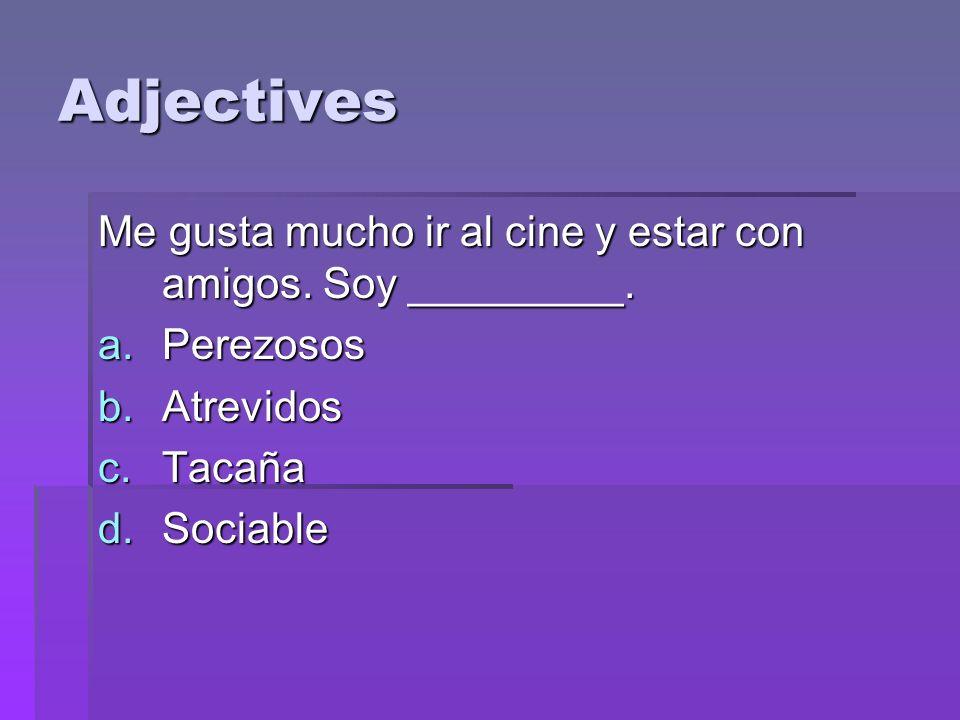 Adjectives Me gusta mucho ir al cine y estar con amigos.