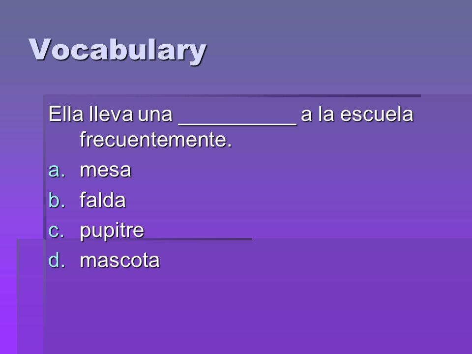 Vocabulary Ella lleva una __________ a la escuela frecuentemente.