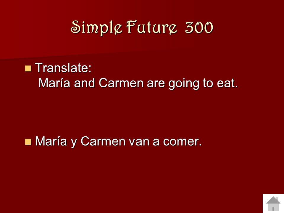 Simple Future 200 Translate to Spanish: Translate to Spanish: I am going to cook. I am going to cook. (Yo) voy a cocinar. (Yo) voy a cocinar.