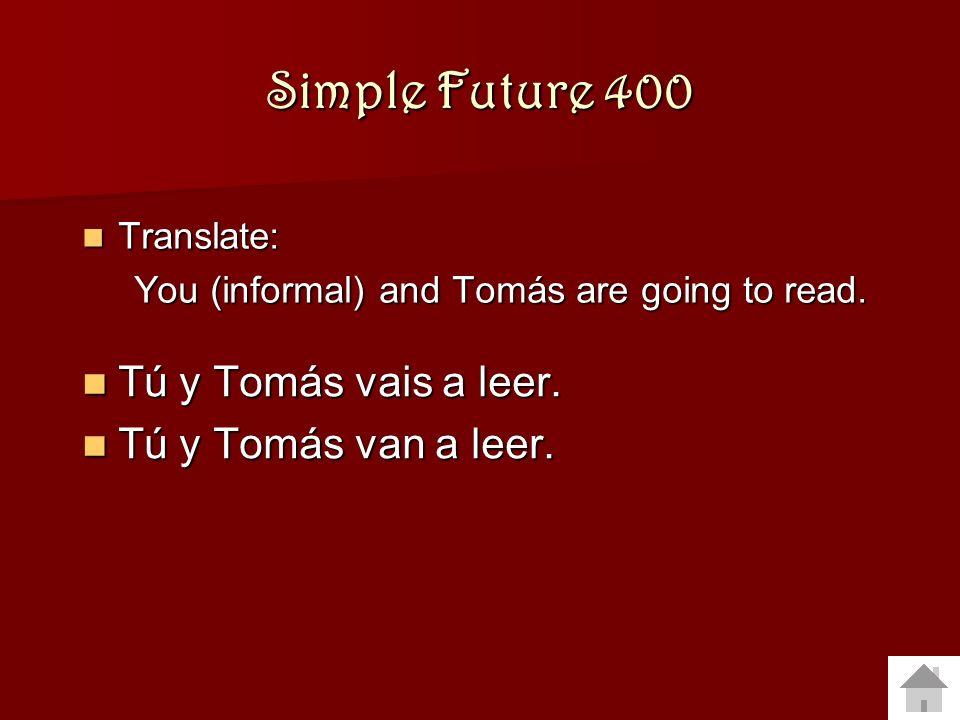 Simple Future 300 Translate: Translate: María and Carmen are going to eat. María and Carmen are going to eat. María y Carmen van a comer. María y Carm