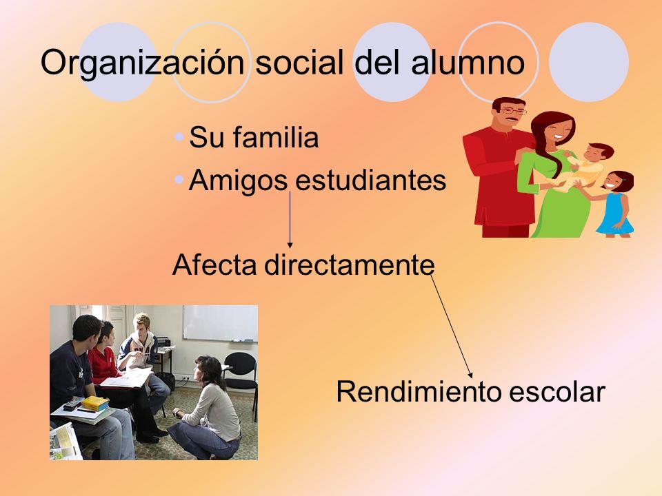 Organización social del alumno Su familia Amigos estudiantes Afecta directamente Rendimiento escolar
